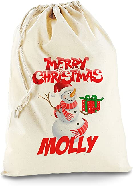 vpk Personalised Name Large Here For The Presents 9 Christmas Sack 70cm x 50cm Fill Gifts Stocking