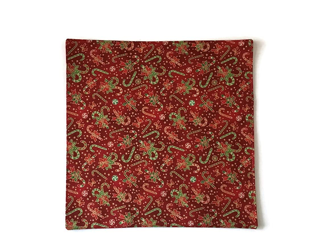 Red Holiday Pocket Square Christmas Candy Canes with Gold Metallic