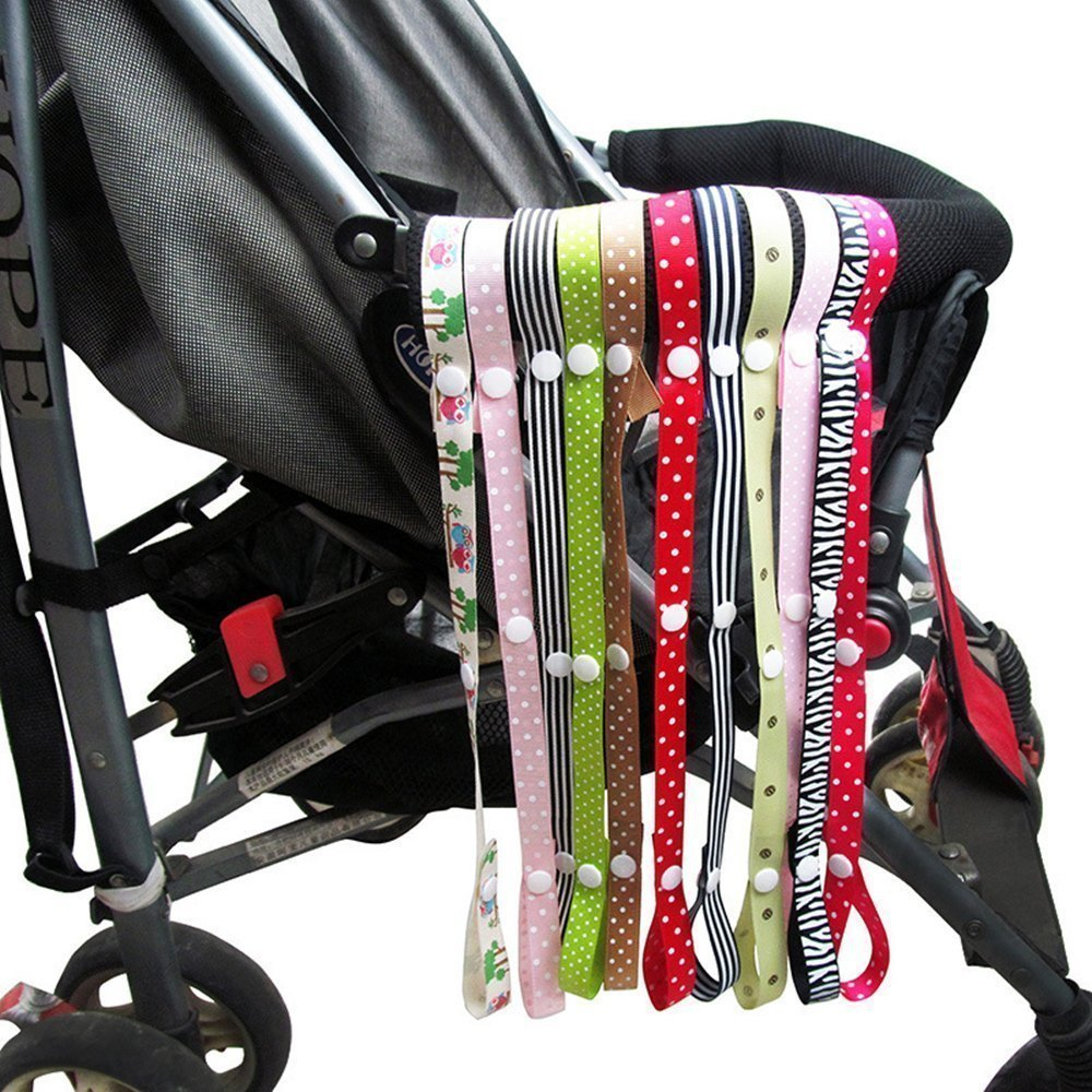 10 pcs Baby Sippy Cup Holder Strap Pacifier Clip Holder Stroller Hanging Toys Leash Anti-Drop Belt (10 Colors)