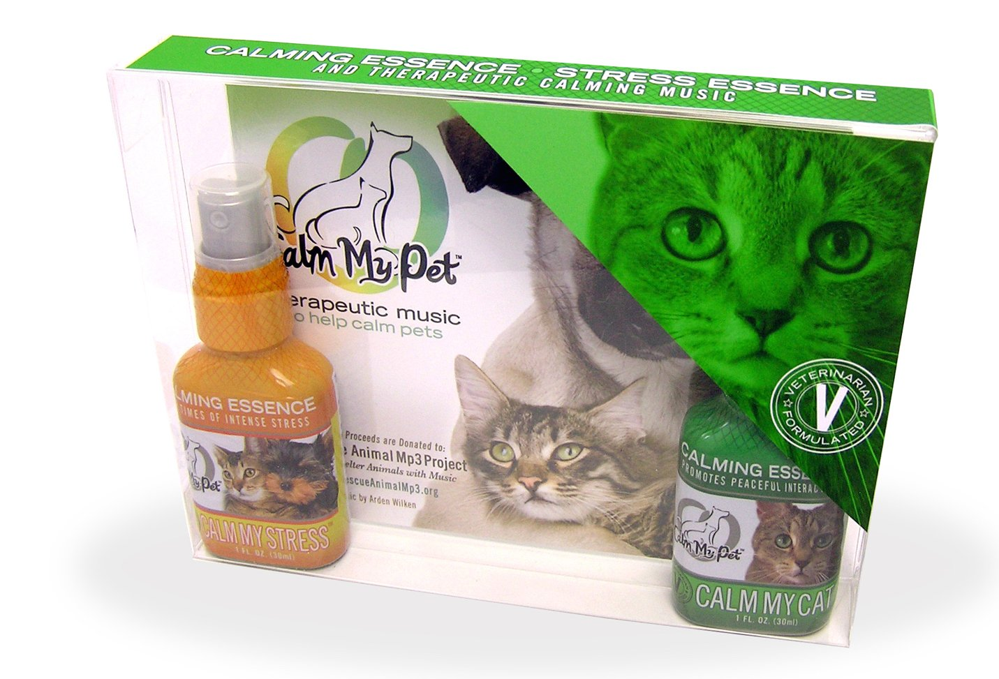 Calm My Cat Kit: Unscented Organic Calm My Cat Essence, Calm My Stress Essence & Soothing Music. by Calm My Pet