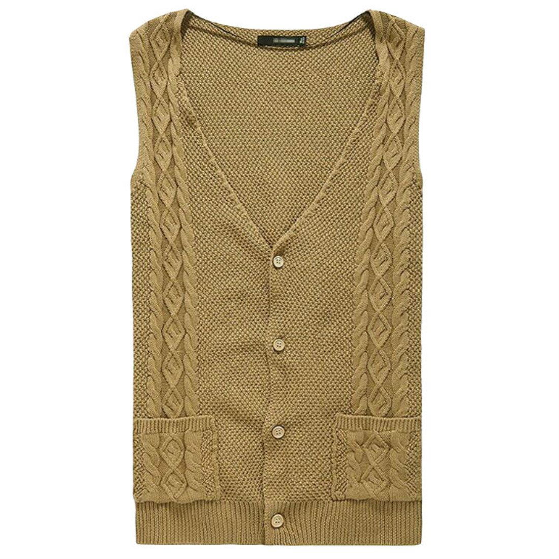 Colygamala Mens Casual V-Neck Cable Knit Cashmere Sweater Vest with Front Button Khaki Sleeveless Vest
