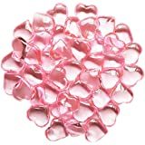 ElE&GANT 1LB(Approx 225Pcs) Pink Acrylic Heart For Table Scatter Decoration or Vase Filler