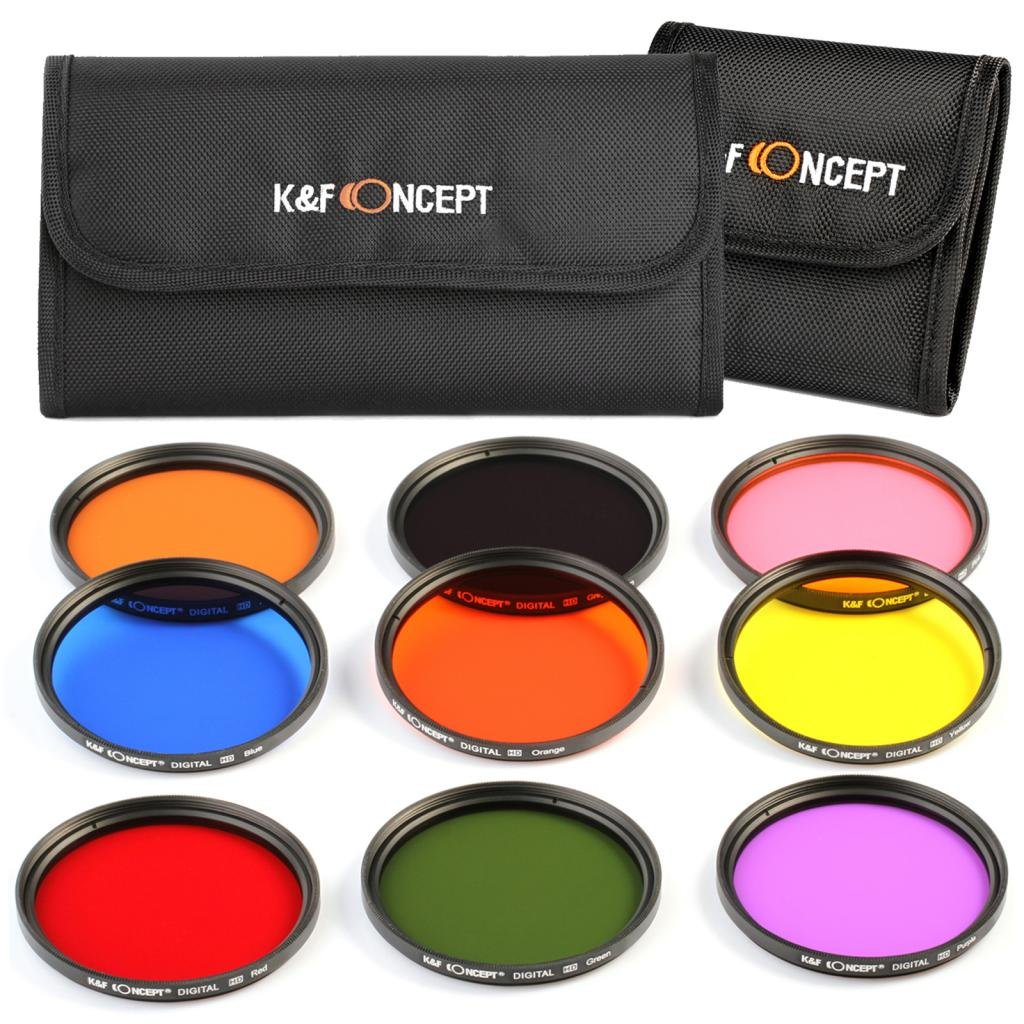 K&F Concept 52mm 9pcs Round Full Color Lens Filter Set Orange Blue Grey Red Green Brown Yelow Purple Pink Accessory Kit for Nikon D5300 D5200 D5100 D3300 D3200 D3100 DSLR Cameras + Filter Pouch
