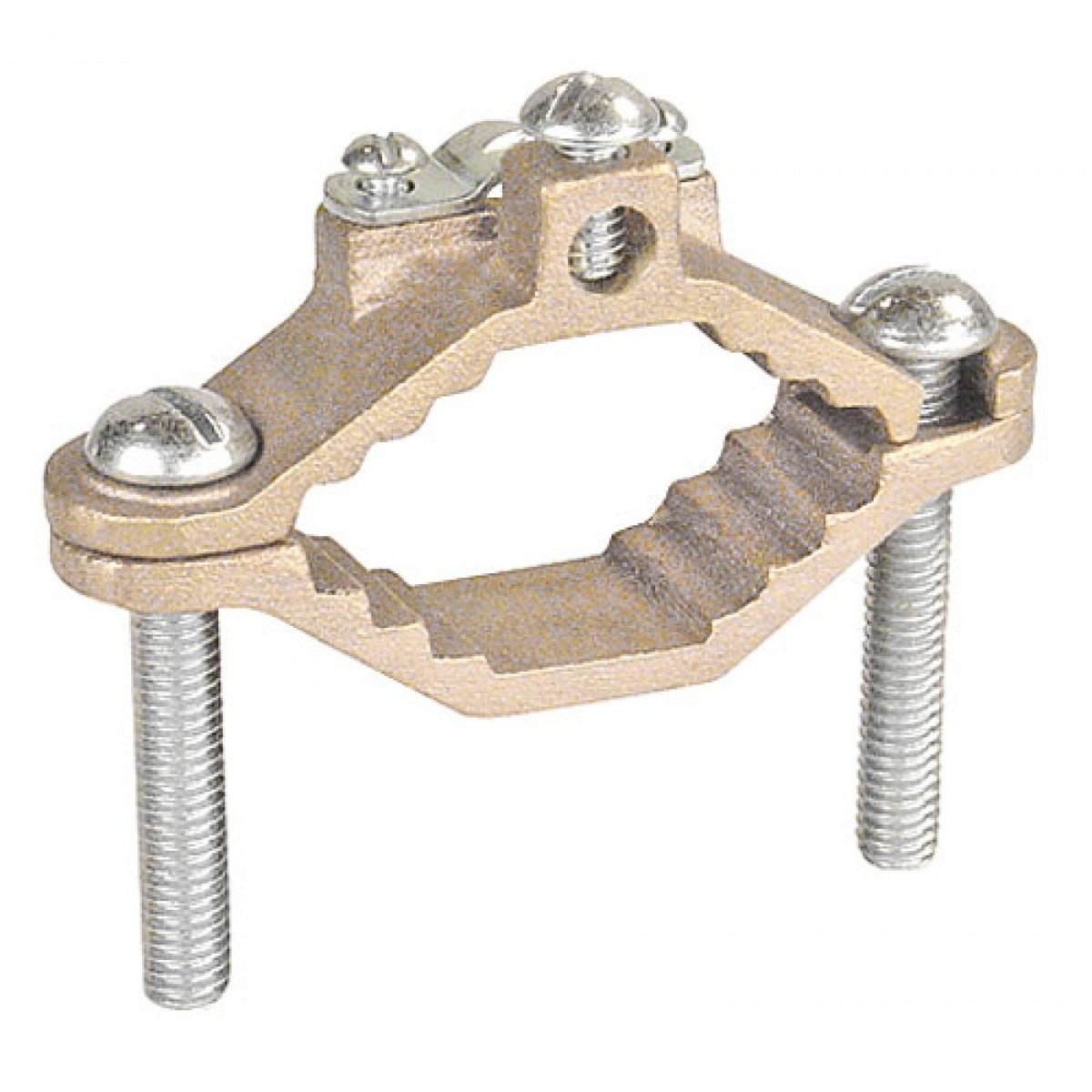 1 Pc, Bronze Ground Clamp for Armored Ground Cable & Pipe Size 1-1/4 to 2 In., Bronze Clamp w/Steel Screws to Ground Bare Armored Ground Cable to Water Pipes, Ground Rods, Rebar