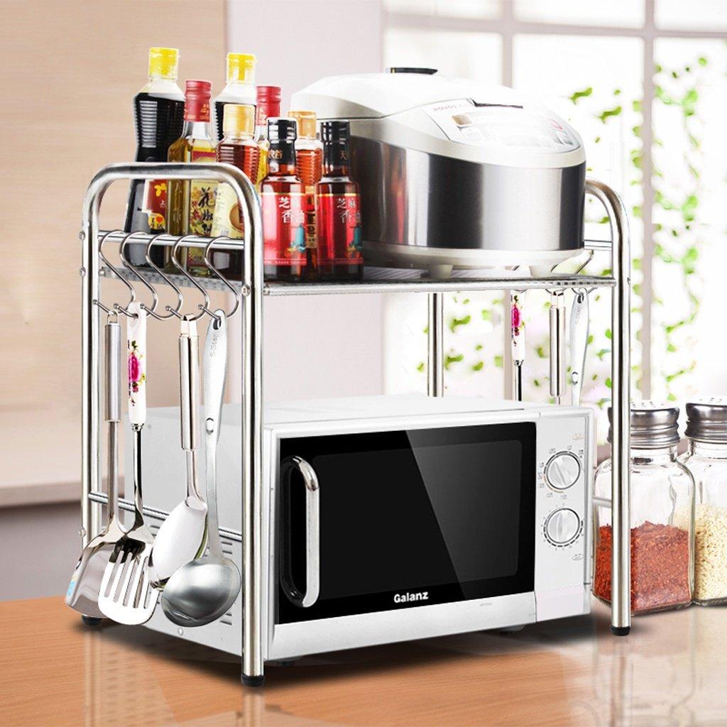 Kitchen Shelves Küchenregal-Boden-Edelstahl-Gewürz-Lagerregal-Mikrowellenofen-Gewürz-Regal-Lagerregal (Farbe : 2 Floors, größe : 40cm)