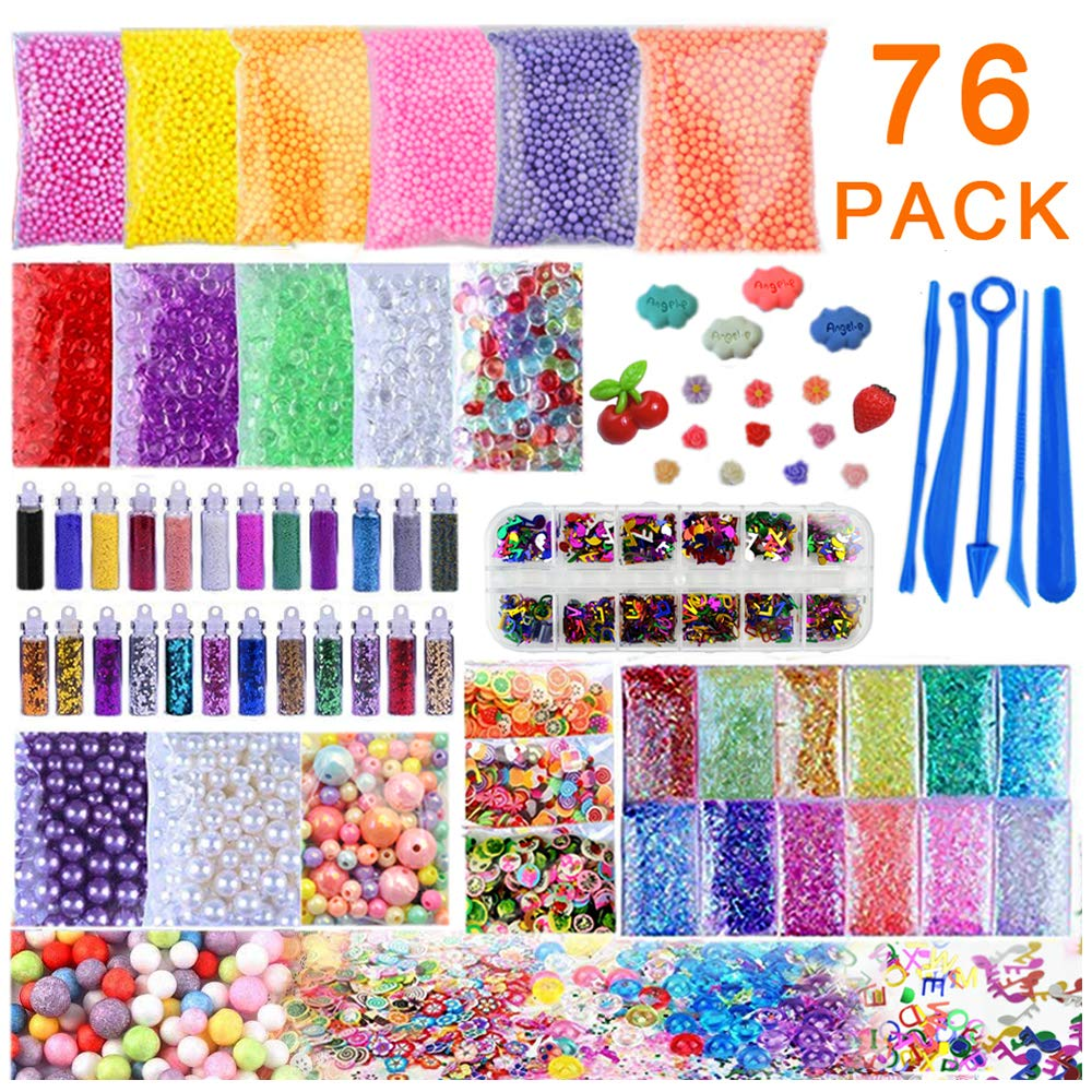 Slime Supplies Kit,JOZZ 76 Pack DIY Slime Charms Pack Slime Stuff for Girls & Boys Includes Floam Beads Foam Balls,Glitter Jars,Fruit Slices, Pearls,Fishbowl Beads