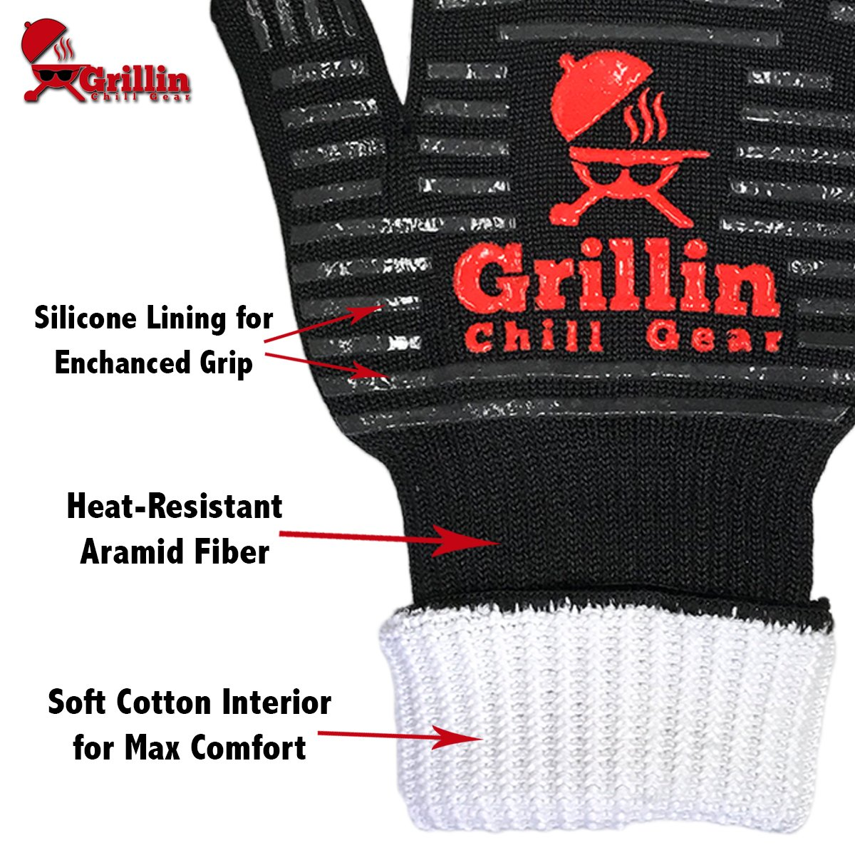 Grillin Chill Gear Meat Claws - Best Bear Claw Pulled Pork Meat Shredders in BBQ Grill Accessories +Extreme Heat Resistant Grill Gloves, Heavy Duty Aramid Fiber & Non Slip Silicone, Soft Cotton Liner by Grillin Chill Gear (Image #2)