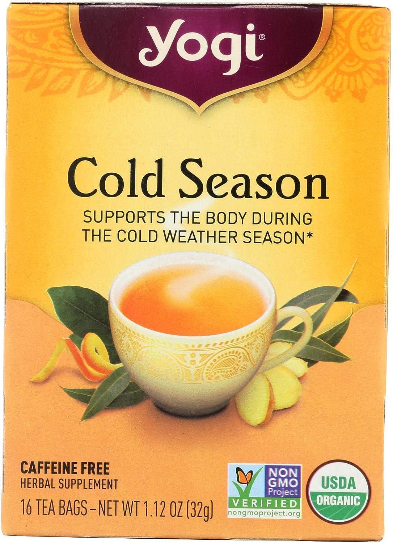 Yogi Tea Cold Season - Caffeine Free - 16 Tea Bags - USDA Organic - 100% Natural Herbal Supplement