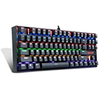 Redragon Gaming Keyboard Mechanical Keyboard K552-R by 87 Key RGB LED Rainbow Backlit Mechanical Computer illuminated Keyboard,Blue Switches for PC Gaming Compact ABS-Metal Design