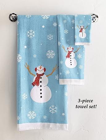 snowman bathroom sets. Frosty Snowman Bathroom Towels  Set of 3 Amazon com Home Kitchen