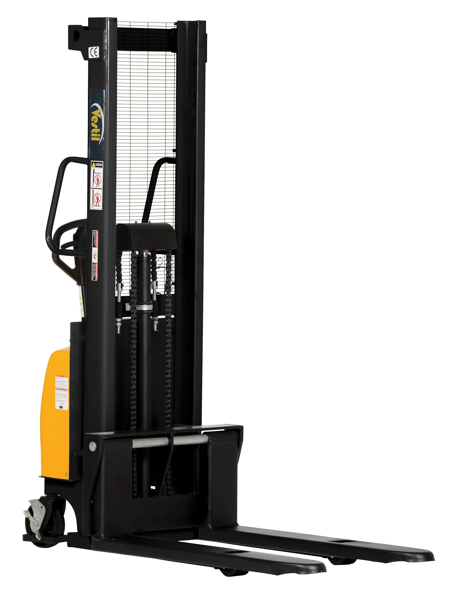 "Vestil SE/HP-118 Combination Hand Pump and Electric Stacker, Steel, 42"" Length x 26-3/4"" Width Fork, 3-3/8""-118"" Height, 2000 lbs Capacity"