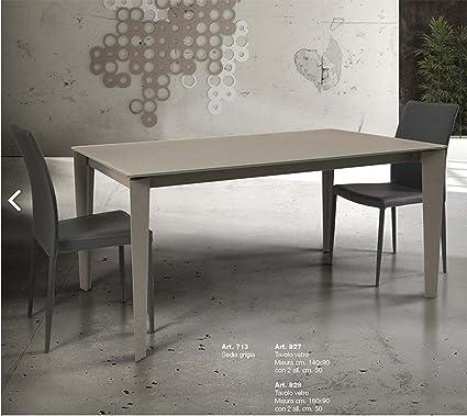 L Aquila Design Arredamenti Tables Chairs Tavolo In Vetro Tortora Allungabile Con Struttura In Metallo 827 Amazon It Casa E Cucina