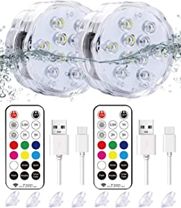 """Qoolife Rechargeable Magnetic Submersible Led Lights - 3.3""""RGBW Underwater Lights Remote Controlled Color Changing Waterproof Led Bathtub Lights for Hot Tub Pond Pool Fountain Aquarium Vase (2 Pack)"""