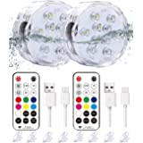 """Qoolife Rechargeable Magnetic Submersible Led Lights - 3.3""""RGBW Underwater Lights Remote Controlled Color Changing Waterproof"""