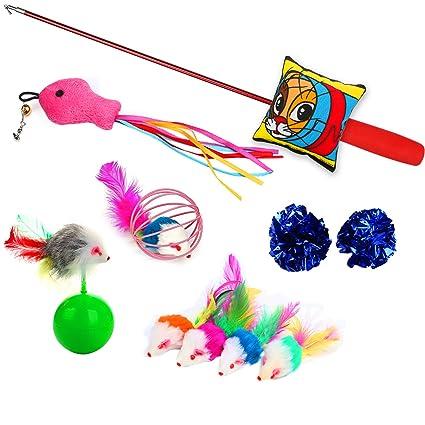 YIHONG Juguetes para gatos, 10 piezas de juguetes para gatitos, incluye varita retráctil para gato, ...