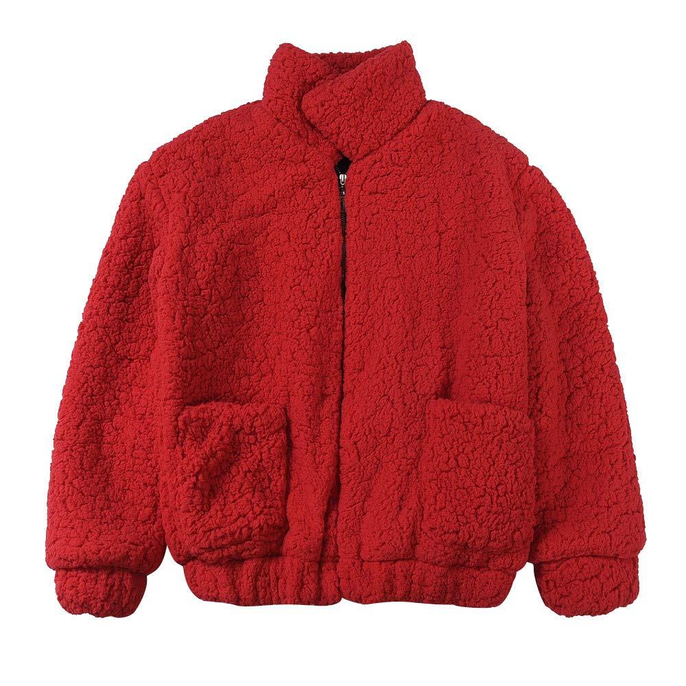 Clearance Sales!Womens Long Sleeve Coat,DEATU Ladies Teen Girls Winter Warm Pocket Fluffy Fleece Fur Jacket Outerwear (Red,XXL)