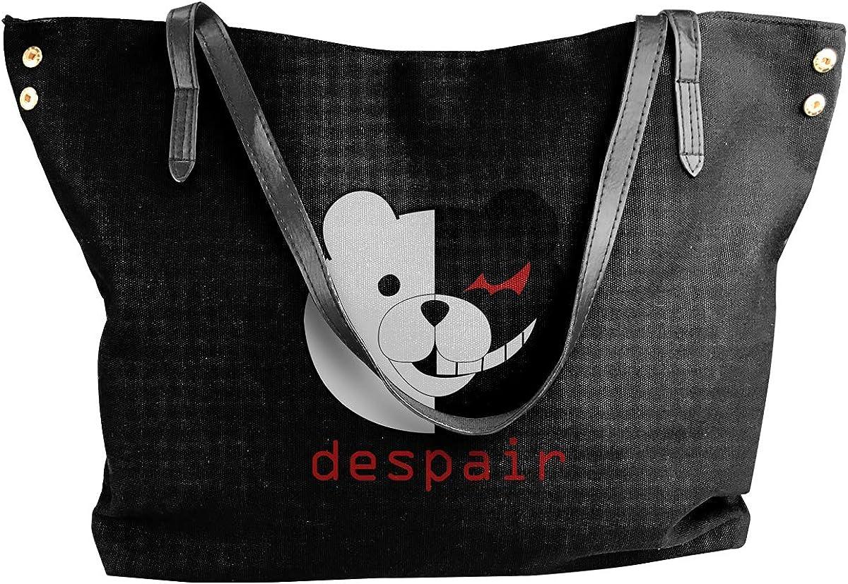 Edmundy Danganronpa Monokuma Despair Shoulder Bag For Women,Simple Yet Stylish Canvas Shoulder Bag Black.