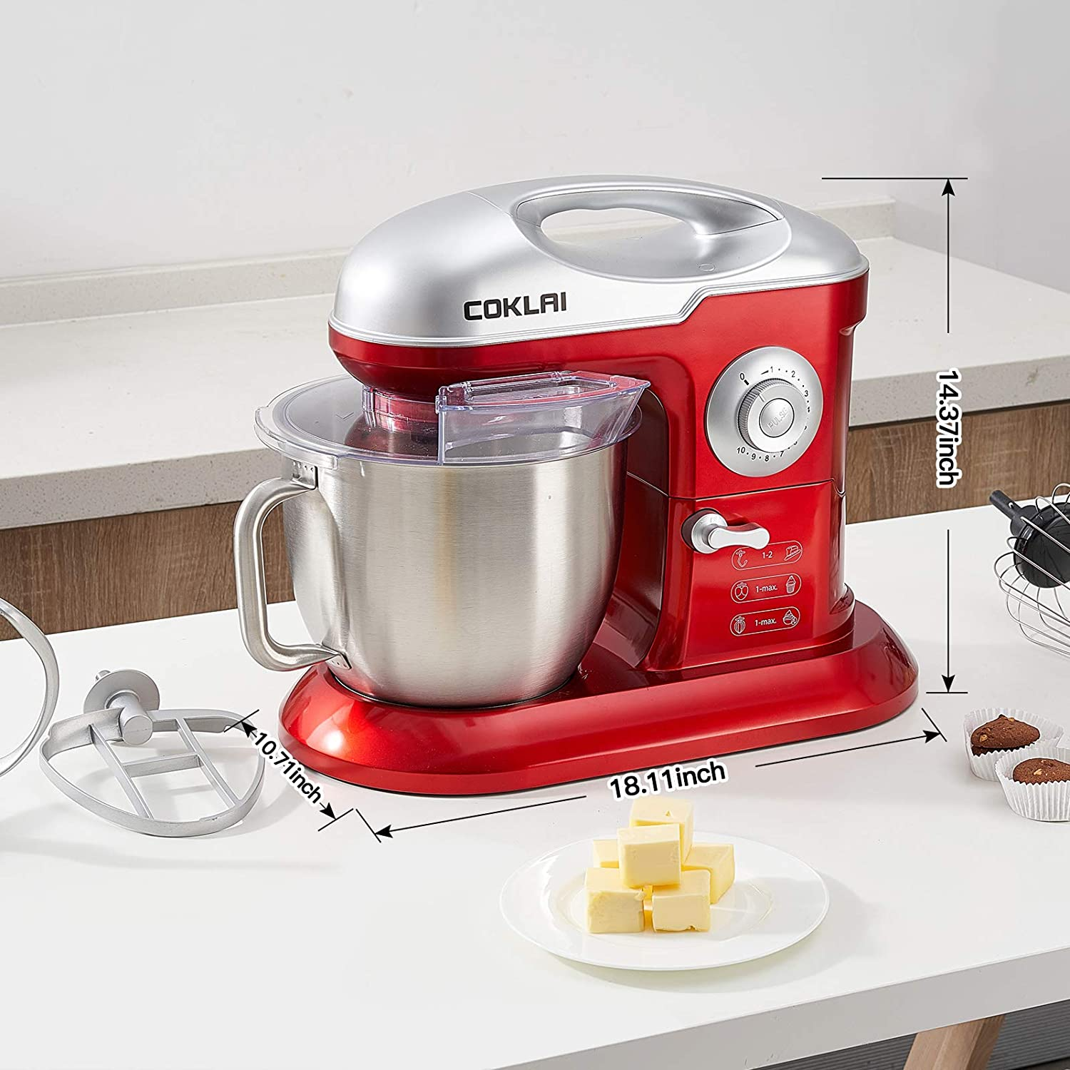 Stand Mixer 10 Speed Household Mixer with Portable Handle Beater Dough Hook Stainless Steel Bowl with Handle Whisk Cake Mixer Red COKLAI 7.3Qt 660W Kitchen Mixers Electric Mixer