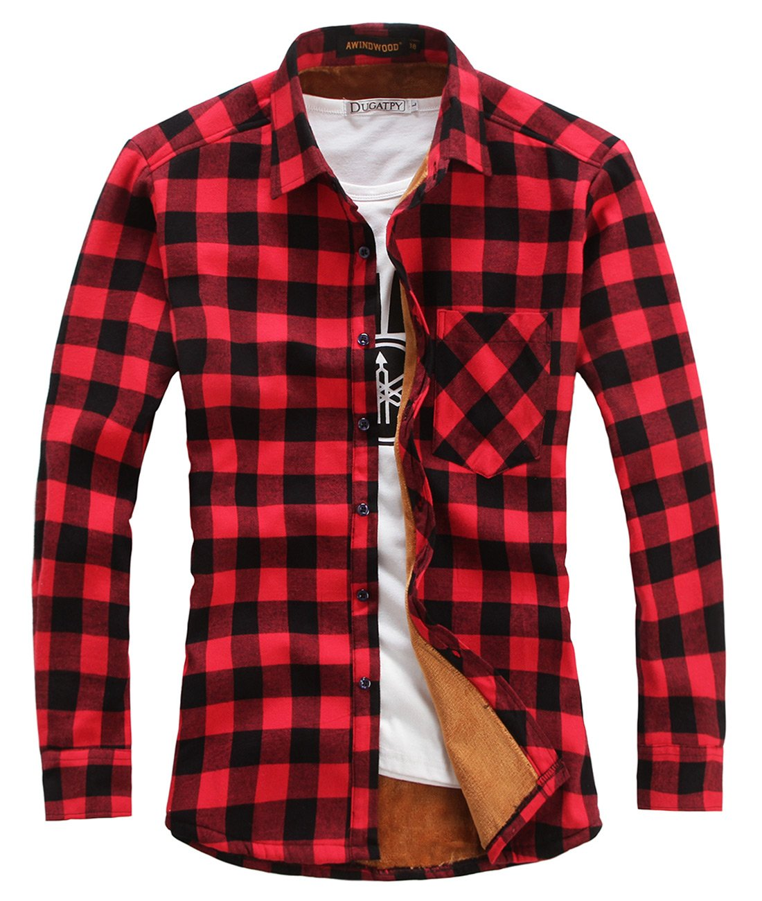 chouyatou Men's Casual Long Sleeve Fleece Lined Plaid Flannel Buttoned Overshirts Jacket (Medium, M04) by chouyatou