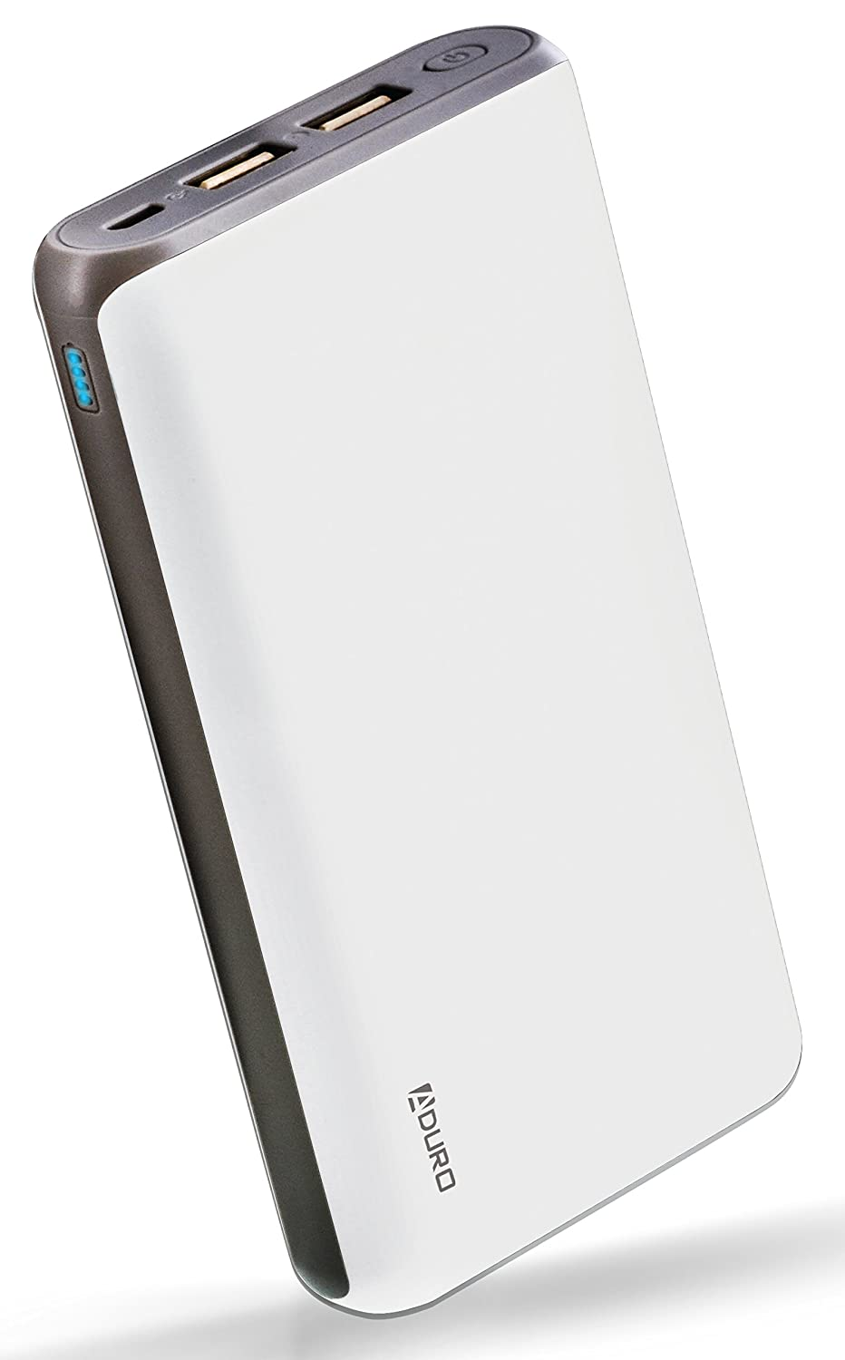 Aduro 20,000mAh Battery Pack Power Bank, External Battery Charger for iPhone Android Smartphone Tablet Portable Power Backup Charges Any USB Device (White)