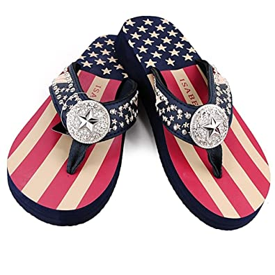 ed6748b02 Women Flip Flop Flat American Flag Western Ladies Slipper Navy Blue Sandals  (L (size