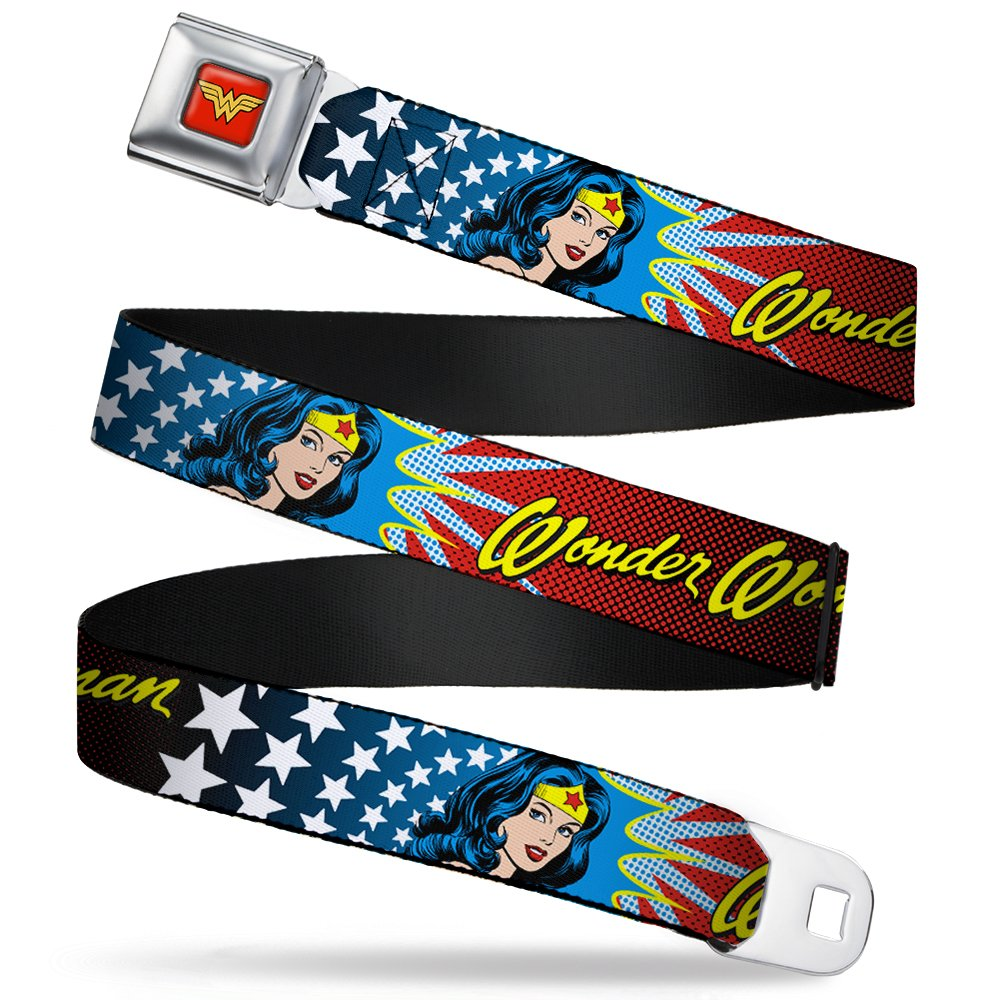 Wonder Woman DC Comics Superhero Face Stars And Name Seatbelt Belt Buckle Down WWA-WWW011-XL