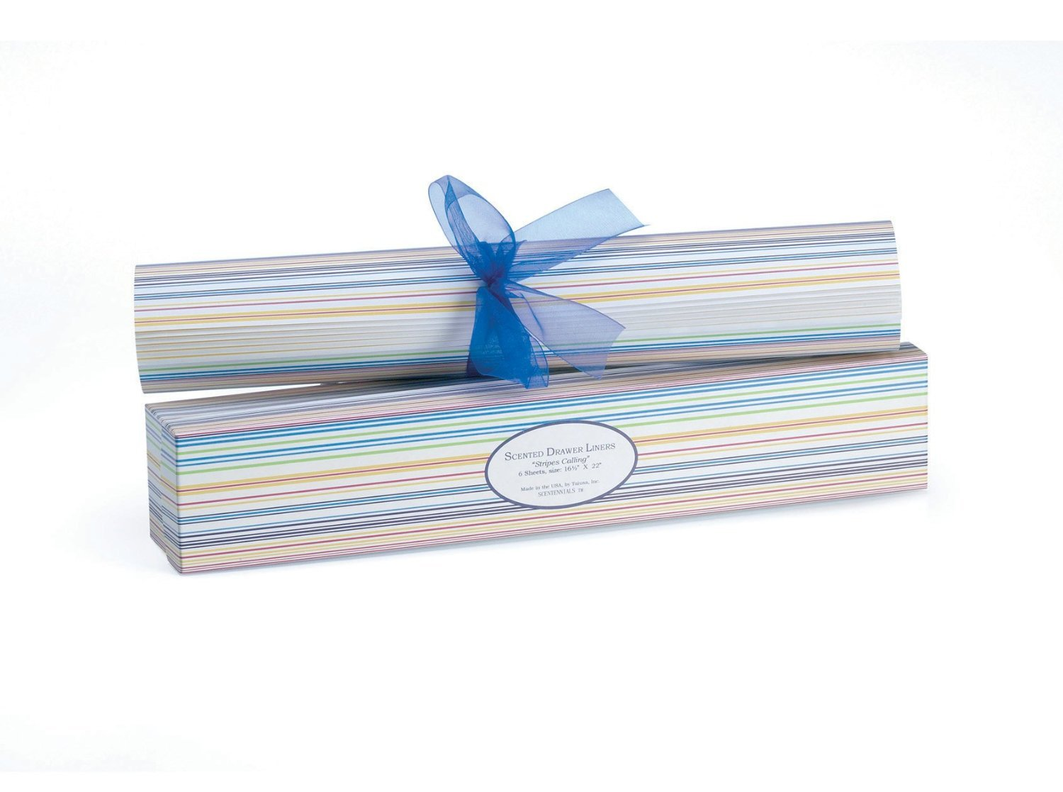 Scentennials STRIPES ARE CALLING (6 SHEETS) Scented Fragrant Shelf & Drawer Liners 16.5'' x 22'' - Great for Dresser, Kitchen, Bathroom, Vanity & Linen Closet
