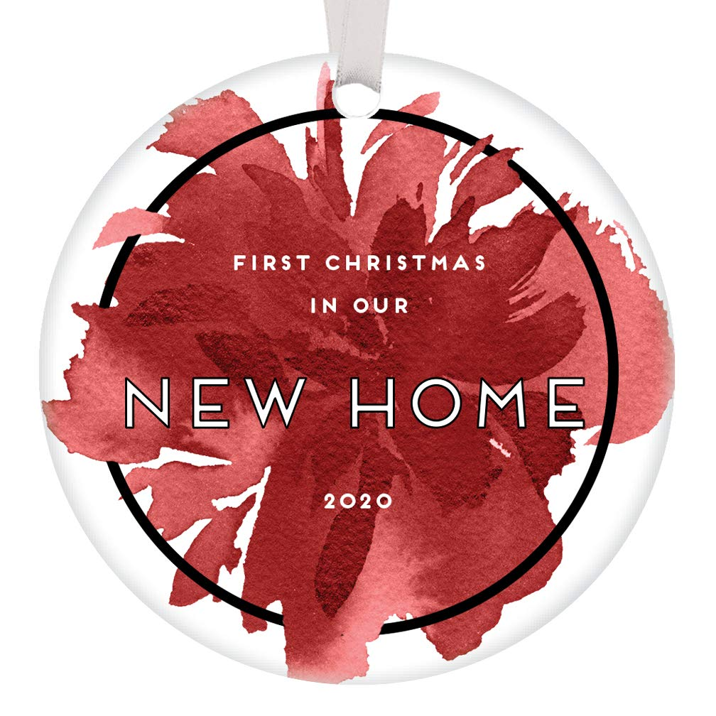 Amazon Com First Christmas New Home Ornament 2020 Dated 1st Time Homeowners Gift Idea House Warming Wedding Presents For Couple Chic Abstract Red Floral Home Decor Housewarming Gift Basket 3 Flat Circle Ceramic