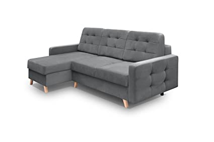 MEBLE FURNITURE U0026 RUGS Vegas Futon Sectional Sofa Bed, Queen Sleeper With  Storage Grey