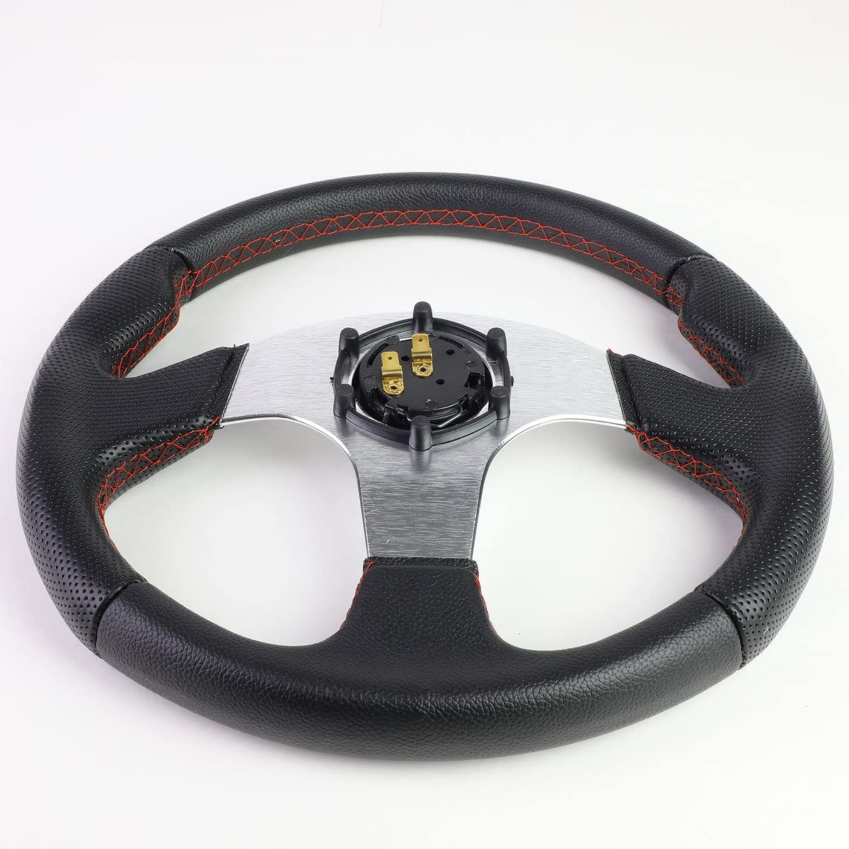 DNA Motoring SW-ZTL-9042-SL Leather Cover Steering wheels Horn Button