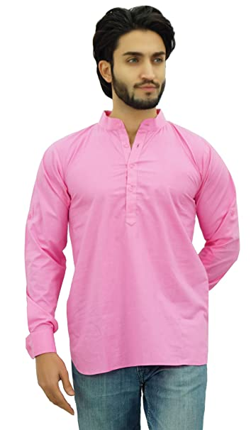 1e6e0453f Atasi Ethnic Men's Short Kurta Baby Pink Mandarin Collar Cotton Shirt-Small