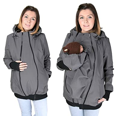 1018d93fc9403 FUN2BEMUM 3in1 Softshell Babywearing jacket maternity coat GRAPHITE NP16 (S  - US 6)