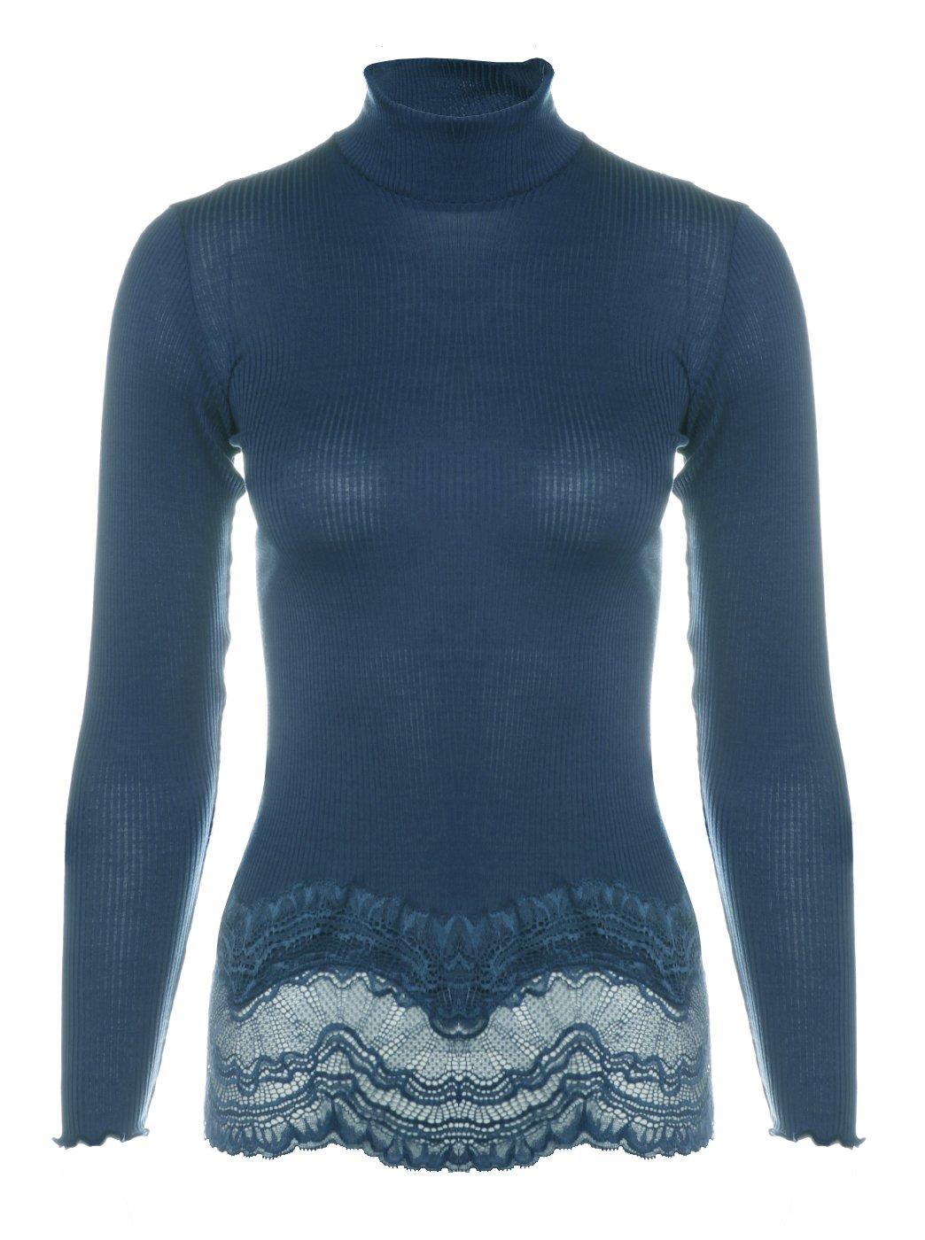 Aimer Women's Soft High Neck String Thermal Long Sleeve Top XS Deep Blue