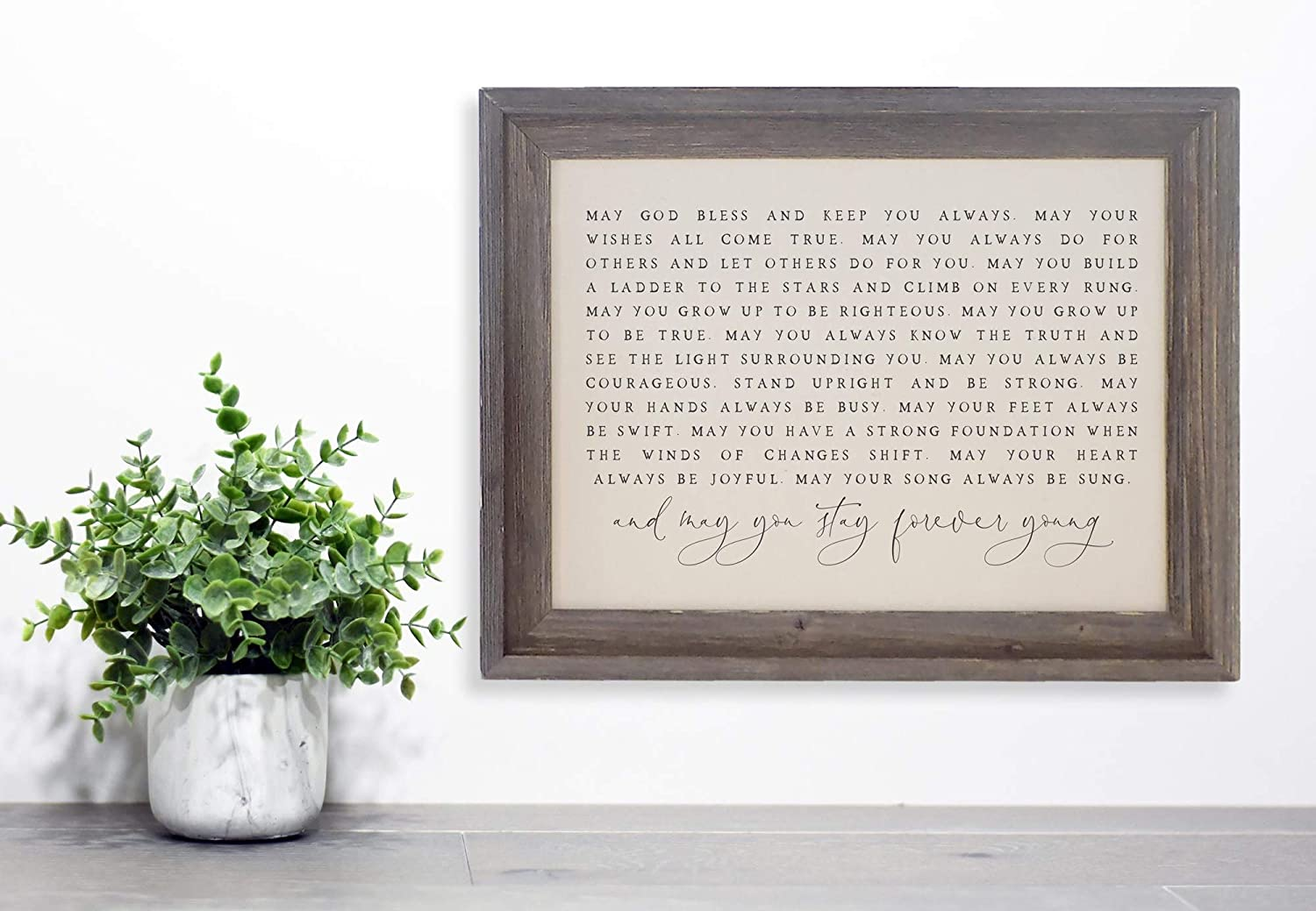 PotteLove Forever Young Sign, Bob Dylan Quote, Fabric Sign in Rustic Frame, Framed Wood Sign, 12 x 22 Inch, Wall Art Decor