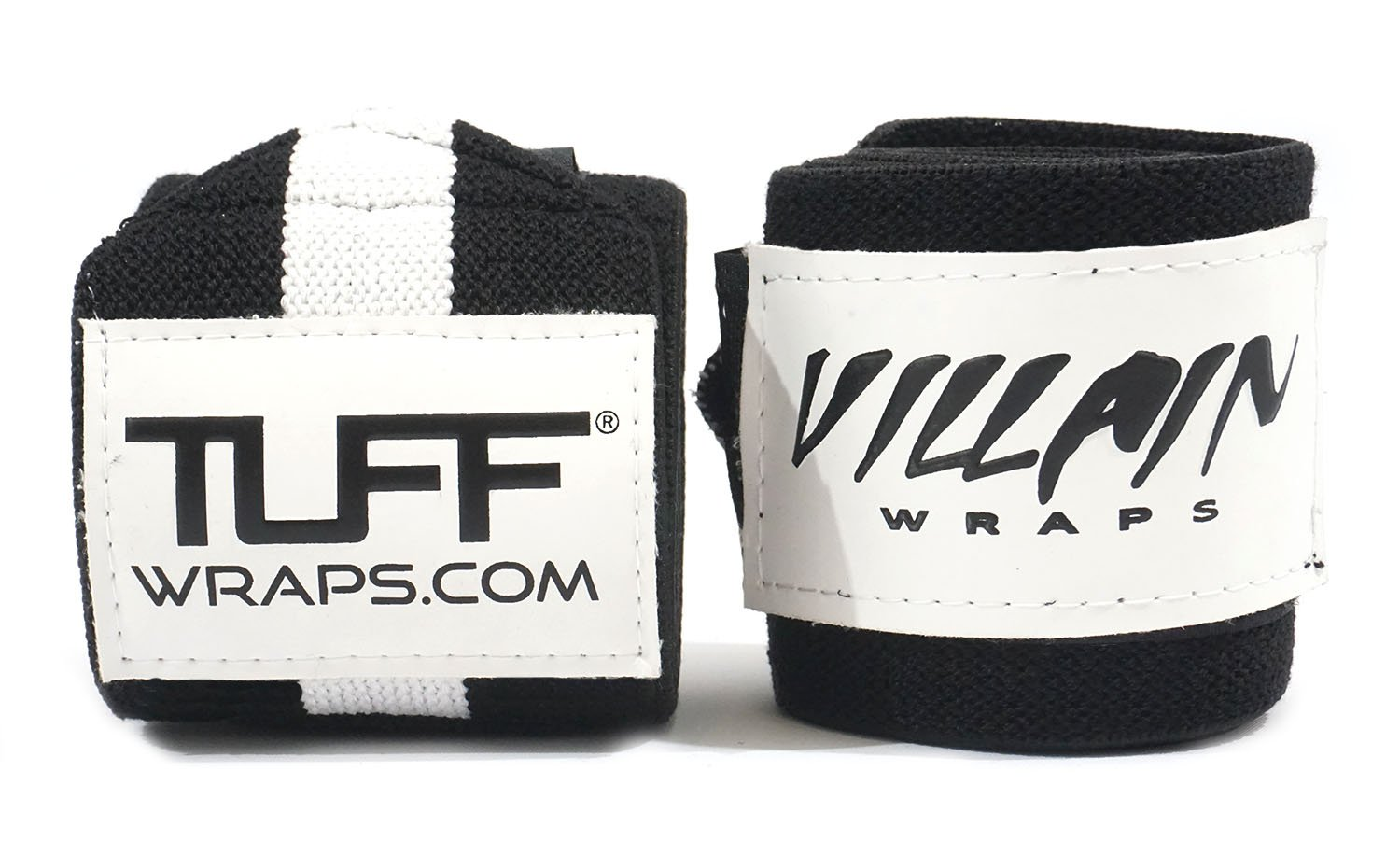 Villain Wrist Wraps 16'' for Powerlifting, Weightlifting, Strongman Training, Crossfit - (Black/White, 16 Inches)