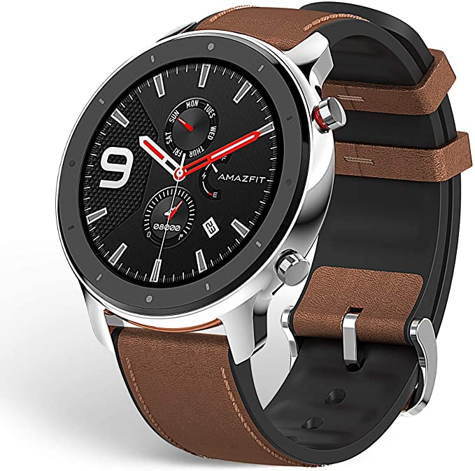 """Amazfit GTR Smartwatch, Smart Notifications, 1.39"""" AMOLED Display, 24/7 Heart Rate Monitor, 24-Day Battery Life, 12-Sport Modes (47mm, GPS, Bluetooth), Stainless Steel"""