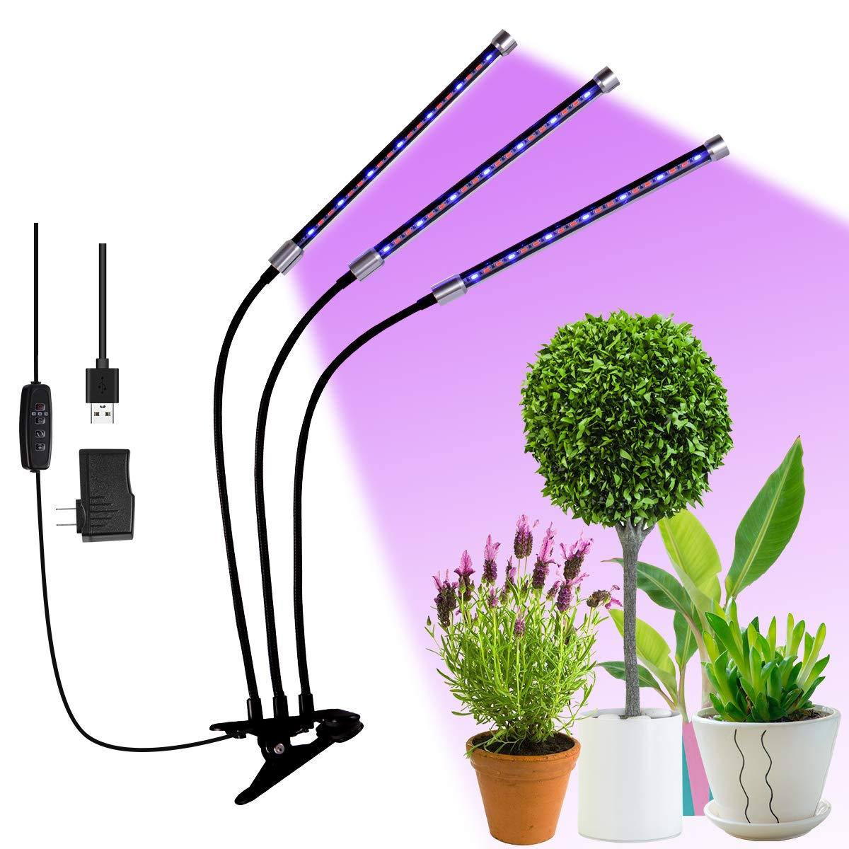 Hotec LED Plant Grow Lights for Indoor Plants with Timer, 27W Three Head Gooseneck Plant Lights with 8 Levels Dimming, Auto ON Off