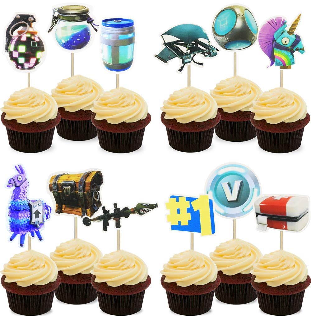 Video Game Party Cupcake Toppers Supplies- 24pcs Cupcake toppers for Game Themed Gamer Gaming Battle Royale Decorations