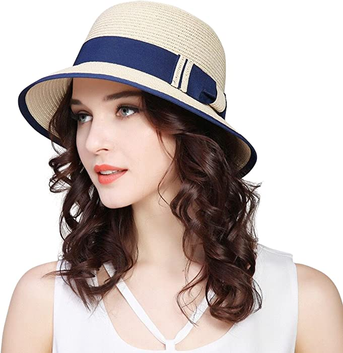 7ffd4cda4e8 JOYEBUY Women Wide Brim Fedora Beach Sun Hat Straw Summer Packable Cap  UPF50+ (A-