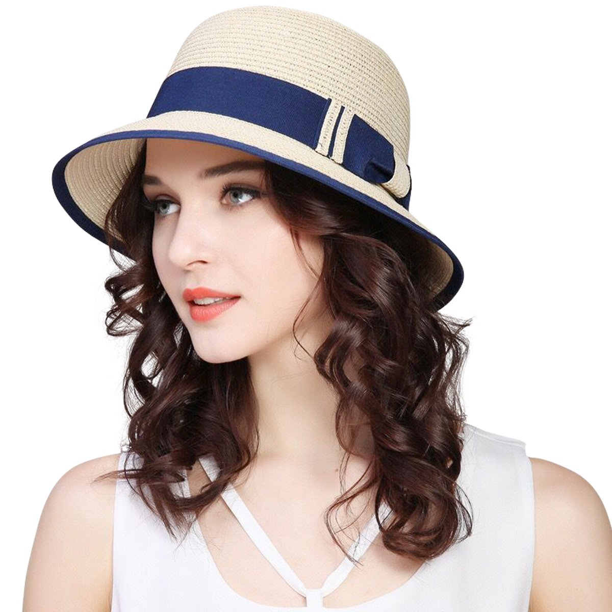 JOYEBUY Women Wide Brim Fedora Beach Sun Hat Straw Summer Packable Cap UPF50+ (A-Beige)
