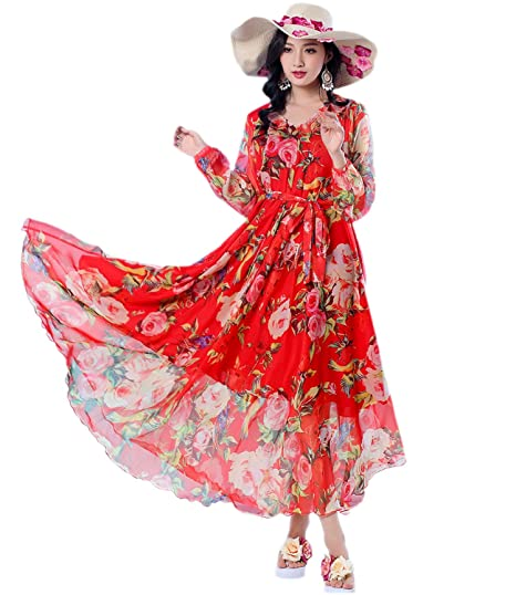 a3aaa3384e6 Medeshe Women s 2018 Spring Long Sleeve Floral Bloom Dress Lightweight  Beach Wedding Sundress (Red Floral