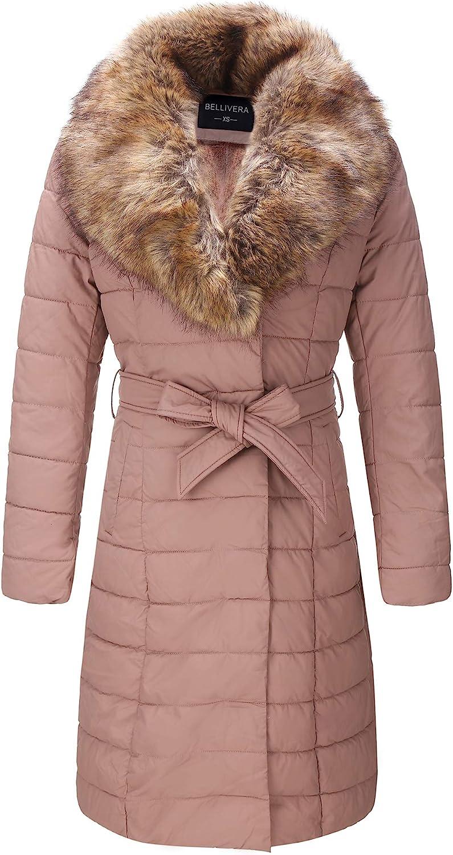 Bellivera Faux Leather Puffer Padding Long Jacket,Women Winter Bubble Coats with Detachable Faux Fur Collar