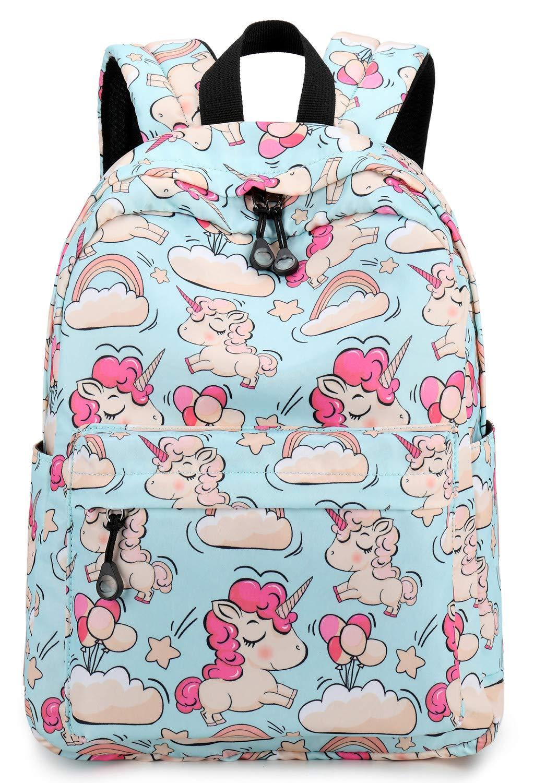 Kids Preschool Backpack Girls Toddler Kindergarten Bookbag Water Resistant (Light Blue S/18) by BLUBOON
