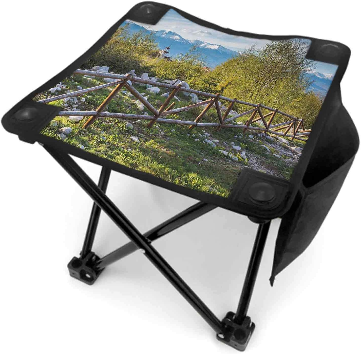 Farmland Camp Chair with Carry Bag, Artsy Idyllic Scene with Tree Trunk Plank and Snow Mountain Range The Alps Photo Camping Gear Green Blue