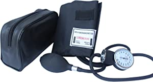 Santamedical Adult Deluxe Aneroid Sphygmomanometer - Professional Blood Pressure Monitor with Adult Black Cuff and Carrying case (Light Black)