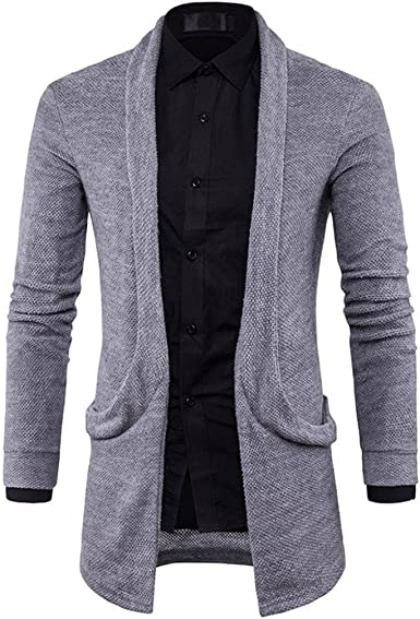 Mens Fashion Business Style Solid Long Trench Coat Slim Jacket Hongxin Knitting Cardigan Sweater