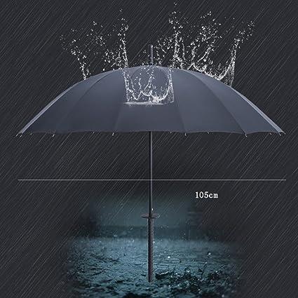 paraguas katana Aumentar 16 Hueso impermeable reforzado a prueba de viento marco mango recto Paraguas (