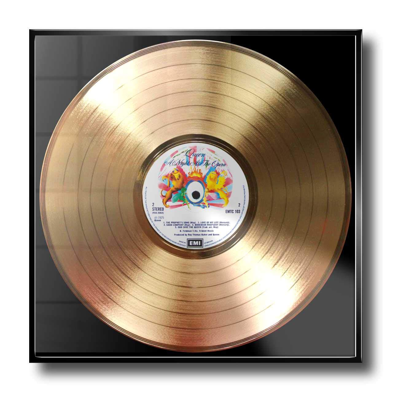 Musiker A Night at The Opera: Rahmen mit Goldener Erinnerungsschallplatte! DJs und Bands 24UHR MOGLICH DISC/´O/´CLOCK Queen Made IN Italy Super Geschenk f/ür Alles Fans