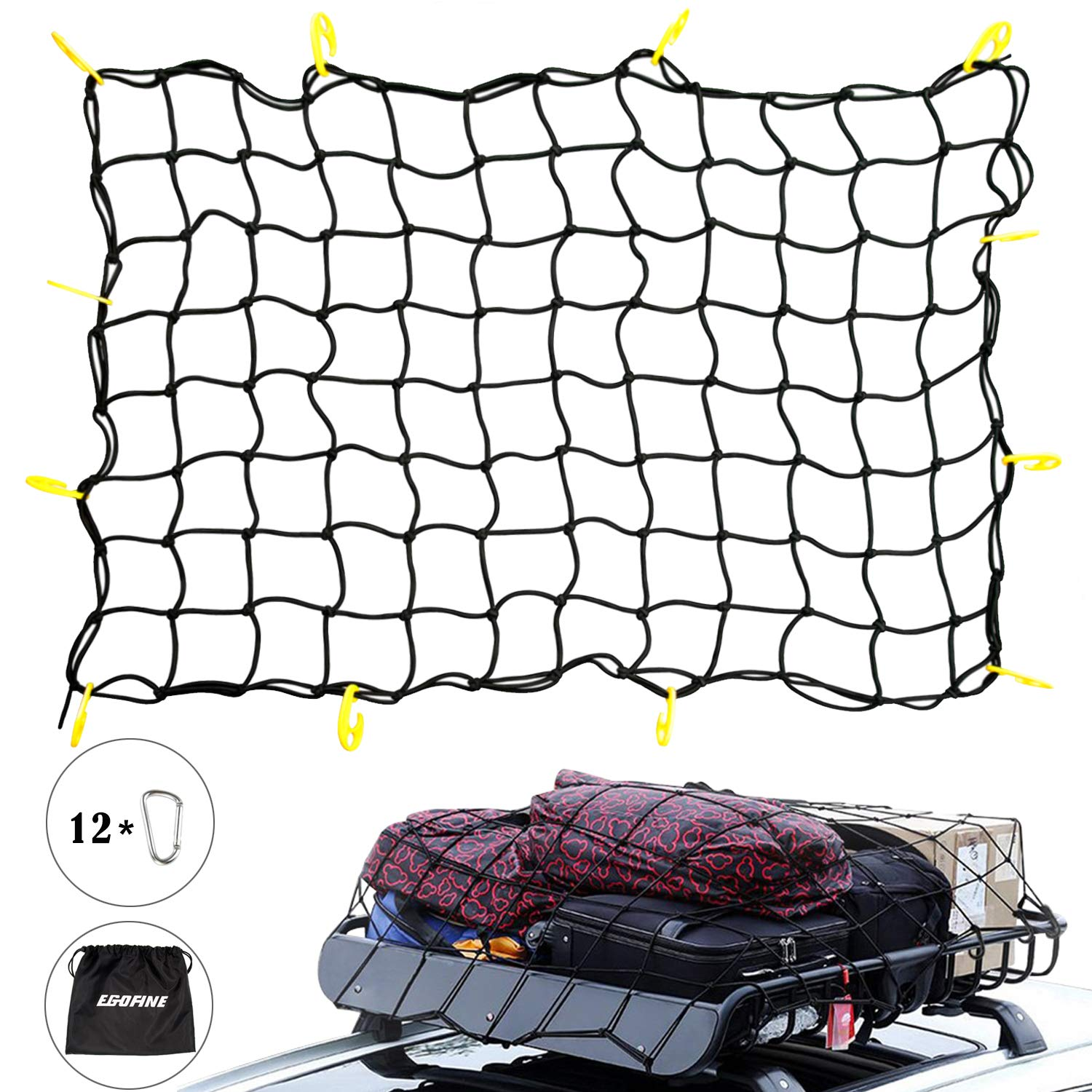 "Egofine Roof Bungee Adjustable Cargo Net - Heavy Duty Cargo Net for Roof Cargo Rack 3'x4.25' Max Stretches to 6'x8.5', Small Mess of 4""x4"" fits SUV, Pickup and Truck Bed QA1002-02"