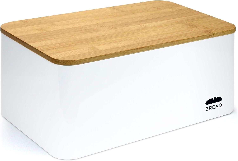 Panera Met/álica de Gran Capacidad con Tapa de Madera para Cortar Pan
